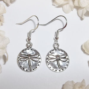 Dragonfly Earrings Circle Silver Set Jewelry 2524
